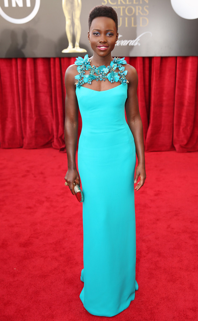 Lupita Nyong'o at the SAG Awards in Gucci